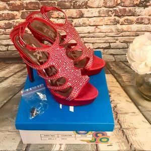 Traffic Milly Red Sparkle Tone Jeweled High Heels